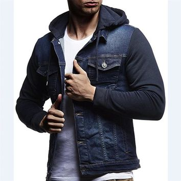 2018 New arrival Patchwork Denim Jackets Men Outerwear Fashion Casual Hooded Jacket Cotton elasticity Slim Fit Coats Large