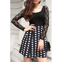 Black Polka Dot Long Lace Sleeve Dress