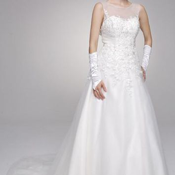 Sheer illusion strapless neckline a line ball gown wedding dress jul#324