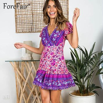 Forefair Retro Vintage Boho Dress New floral print wrap women Summer Dresses 2019 short sleeve v neck A line Bohemian Dress
