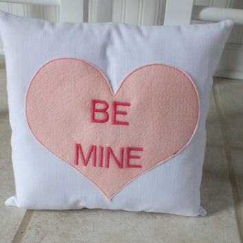 FREE SHIPPING Valentines Decorations, Home Decor 12x12 Accent Pillow, Conversation Heart, Valentines Day, Heart, Couch Pillow, Wedding Gift