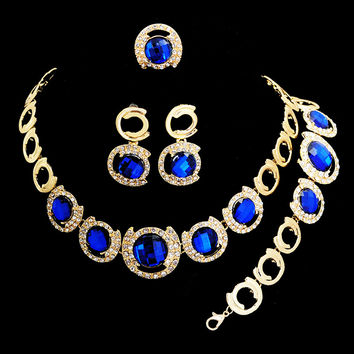 African Beads Jewelry Sets For Women 18K Gold Plated Ruby Blue Big Gem Chunky Choker Necklace Earrings Wedding Accessories