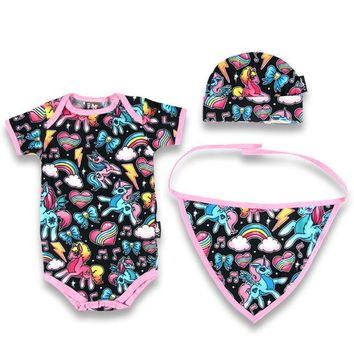 Rainbow Unicorns Baby Shower Gift For Girl Romper Hat Bib Punk Mom