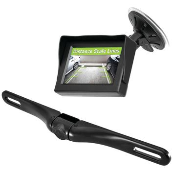 "Pyle Pro Wireless Backup Parking-assist System With License Plate Camera 4.3"" Monitor & Wireless Adapters"