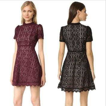 2018 Summer Elegant Women Cute Mini Skater Dress Petite Elegant High Neck Short Sleeves A-line Short Floral Lace Dresses