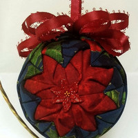 "EtsyCIJ15 Sale Quilted Handmade Ornament ""Poinsettia Delight"""