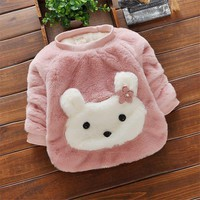 BibiCola baby girls warm sweater clothes infant girls winter spring cotton velvet sweater newborn girls fashion cartoon sweater