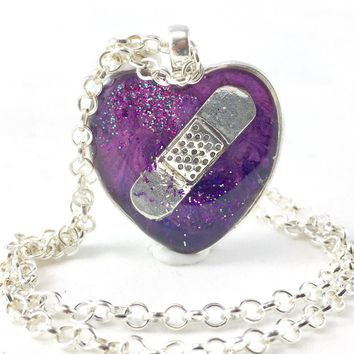 Purple Bandaid Necklace