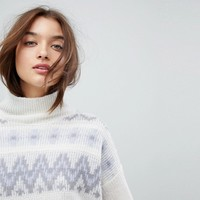 French Connection High Neck Fairisle Jumper at asos.com