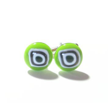 Lime Green Bulls Eye Millefiori Cuff Links, Murano Glass Jewelry
