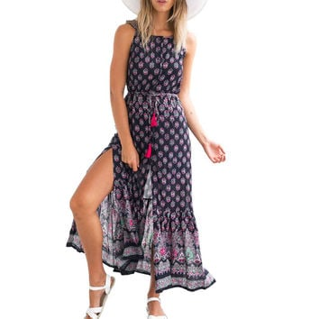 Women Dress 2016 Summer Sexy Sleeveless Backless Floral Print Side Split Long Dress Drawsting Waist Party Sundress Vestidos u2