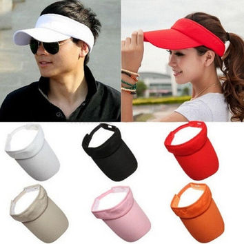 Cotton Sun Visor Hat Cap Sport Tennis Baseball Golf Beach Adjustable Women Men = 1929849604