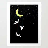 Night birds Art Print by Cecilia Andersson