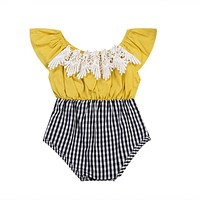 Summer Newborn Kids Baby Clothes Infant Girls Lace Patchwork Plaid Romper Jumpsuit Outfit Cute Baby Girl Romper