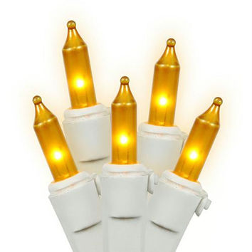 Gold Mini Christmas Lights - 50 Opaque Bulbs On White Wire