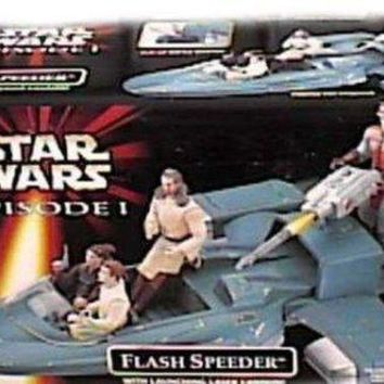 ONETOW Star Wars Year 1998 Episode 1 'The Phantom Menace' Vehicle - Flash Speeder with Flip-Up Battle Damage, Slide-Out Gunner Platform and Launching Laser Cannon (Action Figure Sold Separately)