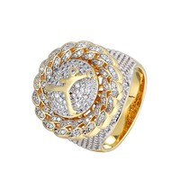 Men's New Basket Ball JumpMan Iced Out Cuban Style Spinner Ring