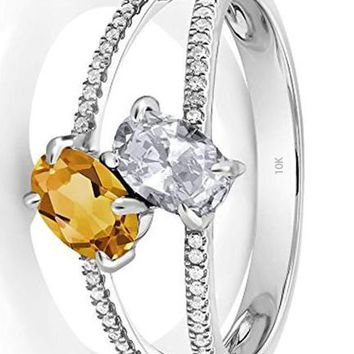 CERTIFIED 1.18 Ct 10K White Gold Oval White Topaz Yellow Citrine Two Stone Ring