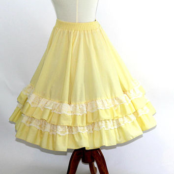 Yellow Square Dance Skirt | Rockabilly Full Circle Skirt Solid Yellow with 2 Layers of Flounce and Lace | Sz M-L | Square Dance Clothes
