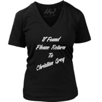If Found Please Return To Christian Grey Women's Deep V Neck T Shirt