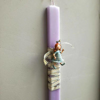 Fairy Easter candle, fairy girl ornament on purple, Greek Easter candle, lilac, Greek Easter candle, with fairy/princess girl figurine