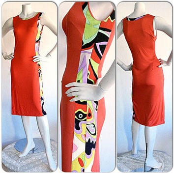 Vintage Emilio Pucci Bright Orange Psychedlic Rainbow Silk Jersey Dress / Mod Retro Vintage Pucci Dress / BodyCon Sexy Made in Italy