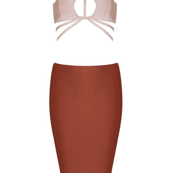 Honey Couture JOELLE Dusty Pink on Brown Cut Out Bandage Crop Top & Bandage Pencil Slit Skirt Set