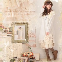 2017 Japanese Spring Lace Knitted Cotton Solid Dress Women Loose Mori Girl Cute Cascading Ruffle Cake Dresses T294
