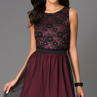Short Sleeveless Dress with Lace Bodice by Speechless
