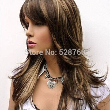 PEAPGB2 Feathery Long Layered Wig Brown with Blonde Highlights Free shipping