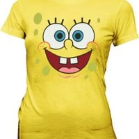 SpongeBob SquarePants Basic Bob Face Yellow Juniors T-shirt