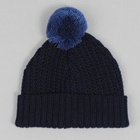universal works - merino bobble hat navy