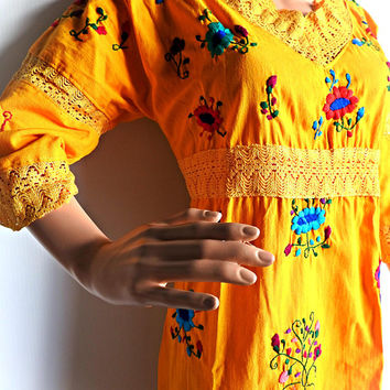 Mexican embroidery dress, sleeved mexican embroidered dress, floral mexico dress, mexican embroidered dresses for women, garden party dress
