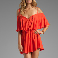 Indah Zhina Flounce Top Mini Dress With Interchangeable Top in Papaya from REVOLVEclothing.com