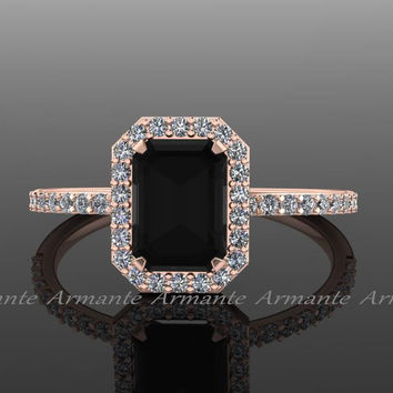 Black Diamond Emerald Cut Engagement Ring, White And Black Diamond 14k Rose Gold Halo Ring, Wedding Ring Re0005
