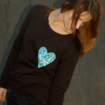 "The ""Dazzle Pocket"" Sweatshirt -  Sequin Heart Chest Pocket - Pocket Shirt"