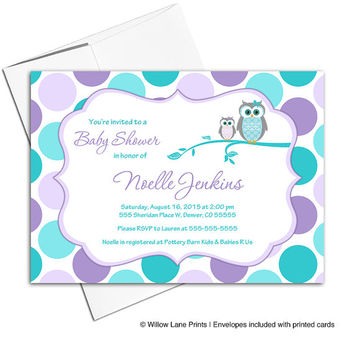 unique baby shower invitations for girls with owls in purple and teal polka dots | printable or printed - WLP00731
