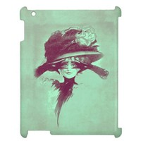 Vintage Antique Woman Bright Eyes Hat Plume Cover For The iPad