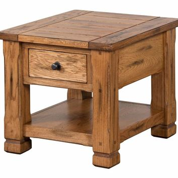 Wooden Chair Side End Table, Brown