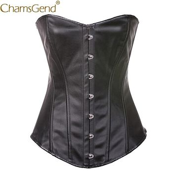 Black Leather Woman Corset Waist Cincher Body Shaper Women Sexy Strapless Push up Shapewear for formal wedding dress  90117