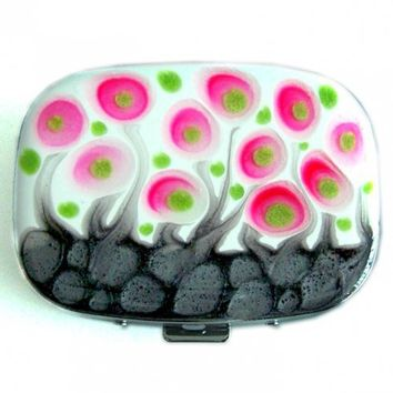 Metal Pill Box with Mirror Rectangular Blossom Inspired Hand Painted Glossy Enamel Finish