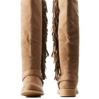 Taupe Fringed Western Boots by Charlotte Russe