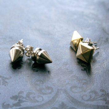Set of metal studs gold pyramid and spikes with by bLuGrnDesign