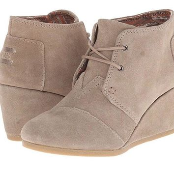 Toms Desert Taupe Wedge Booties
