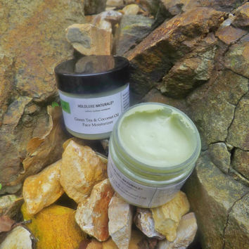 Green Tea & Coconut Oil Face Moisturizer– Small Batch Handmade – Essential Oils –   Face Moisturizer for All Skin Types