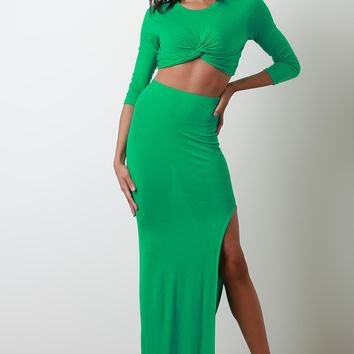Jersey Twist Front Crop Top With Slit Maxi Skirt Set