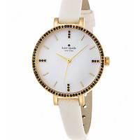 Metro Skinny Pavé Goldtone Stainless Steel & Leather Strap Watch - Zoom - Saks Fifth Avenue Mobile