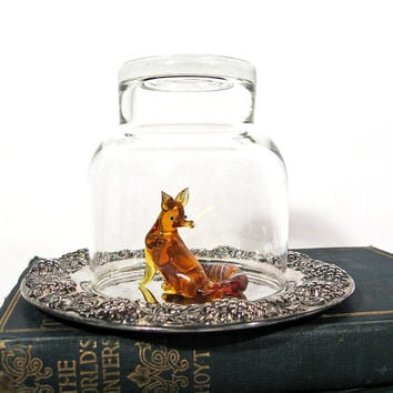 The Fox and the Grapes Vintage Glass Animal Figurine Dome Tray