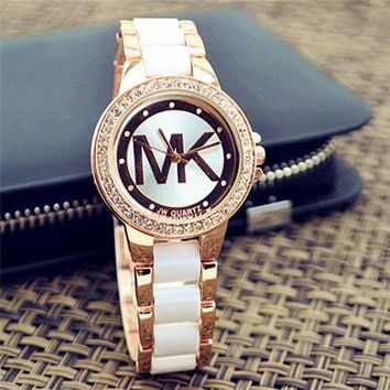 MK Ladies Watch Stylish Pottery Quartz Rhinestone Korean Fashion Bracelet Watch+Gift box