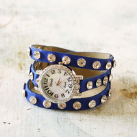 Moonstone Glittering Watch in Blue